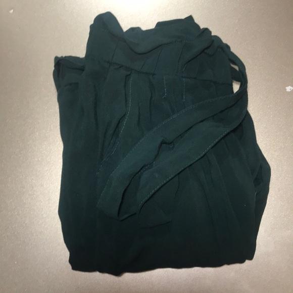 Ambiance Pants - Elastic waist slant pocket green pants